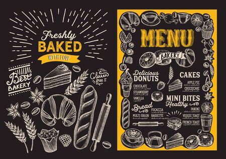 Plantilla de menú de panadería para restaurante en un folleto de ilustración de fondo de pizarra para cafetería de comida y bebida. Disposición de diseño con letras vintage y gráficos dibujados a mano de doodle. Ilustración de vector