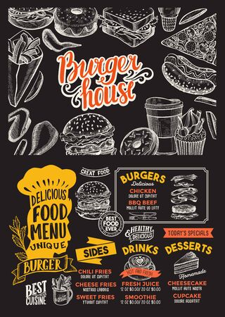 Plantilla de menú de hamburguesas para restaurante en un folleto de ilustración de fondo de pizarra para cafetería de comida y bebida. Diseño de diseño con letras y garabatos iconos gráficos dibujados a mano.