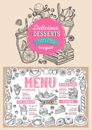 Dessert menu template for restaurant on background illustration brochure for food and drink cafe. Layout with vintage lettering and doodle hand-drawn graphic icons. Ilustração