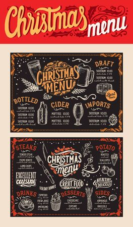 Christmas and New Year food menu template for restaurant on chalkboard background. illustration for holiday celebration. Design background with hand-drawn lettering and festive vintage graphic. Illustration