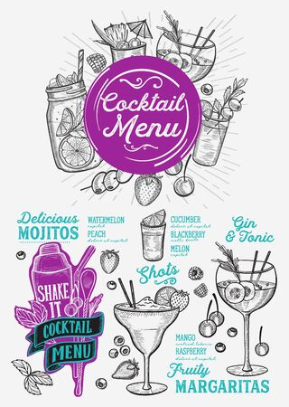 Cocktail menu template for restaurant illustration brochure for food and drink bar. Design layout with vintage lettering and doodle hand-drawn graphic icons. Illustration