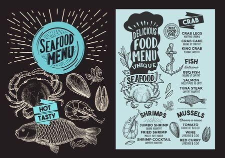 Seafood menu template for restaurant on a blackboard background illustration brochure for food and drink cafe. Design layout with vintage lettering and doodle hand-drawn graphic icons. 写真素材 - 131313474