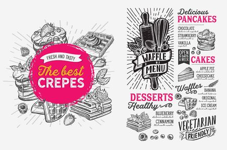 Waffle and pancake menu template for restaurant on background illustration brochure for food and drink cafe. Design layout with vintage lettering and doodle hand-drawn graphic icons.
