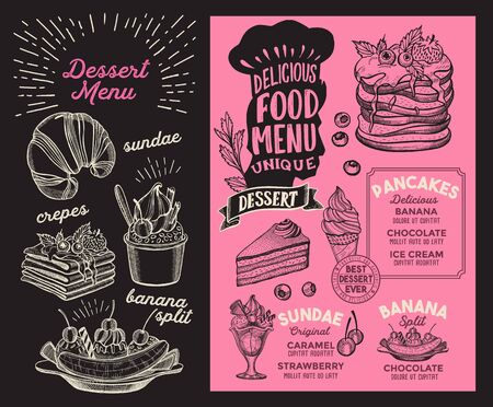 Dessert menu template for restaurant on background illustration brochure for food and drink cafe. Layout with vintage lettering and doodle hand-drawn graphic icons.