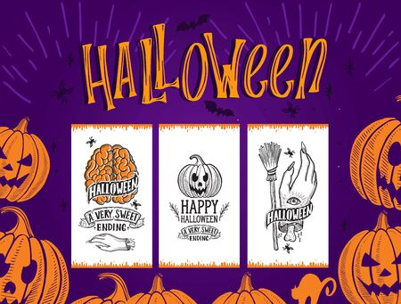 Set of Halloween invitation with holiday decoration pumpkin and zombie hand vector illustration banner for witch, costumes, horror party. Design flyer with vintage lettering and hand-drawn elements. Illusztráció
