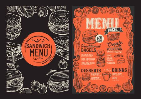 Bagel and sandwich menu template for restaurant on a blackboard background illustration brochure for food and drink cafe. Design layout with lettering and doodle hand-drawn graphic icons.