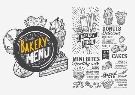 Bakery menu template for restaurant on white