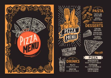 Pizza menu template for restaurant on a blackboard
