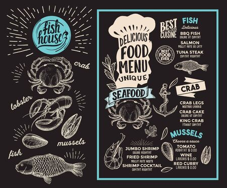 Seafood menu template for restaurant on a blackboard 写真素材 - 132837921