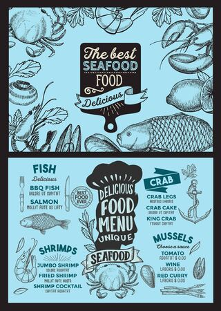 Seafood menu template for restaurant on a blackboard
