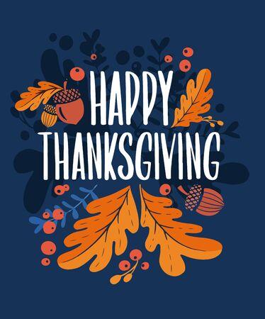 Bonne journée d'action de grâce. Fond avec des illustrations colorées d'automne. Affiche pour la célébration des vacances. Bannière vectorielle de conception avec lettrage vintage et éléments graphiques dessinés à la main. Vecteurs