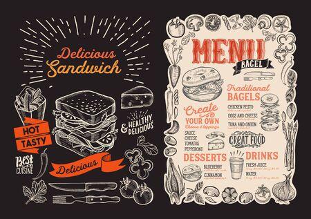 Bagel and sandwich menu template for restaurant on a blackboard