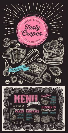 Waffle and pancake menu template for restaurant