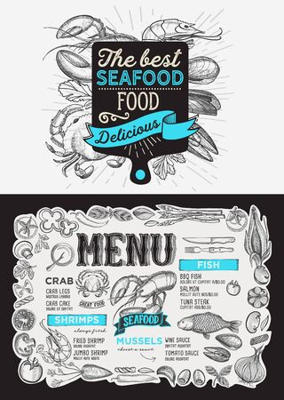 Seafood menu template for restaurant  イラスト・ベクター素材