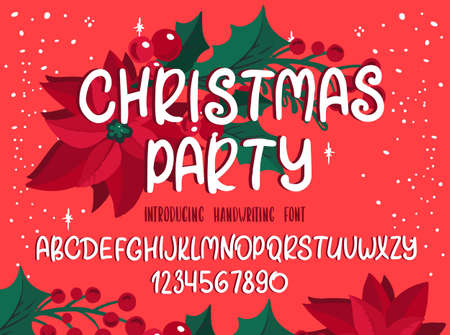 Christmas font. Holiday typography alphabet with season wishes and festive illustrations. Handwritten script for holiday new year celebration. Design vector with hand-drawn lettering. Vettoriali