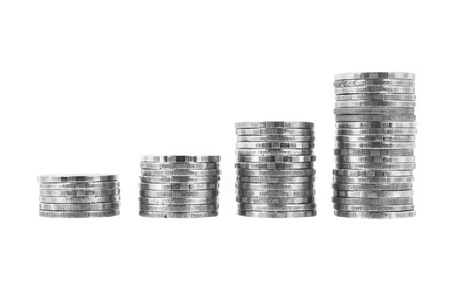pennie: Coin stack thai bath on white background