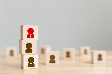 La gestion des ressources humaines et le recrutement d'entreprise construisent le concept d'équipe, l'espace de copie Banque d'images