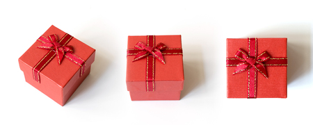 Collection of red gift box isolated on white background Stock Photo