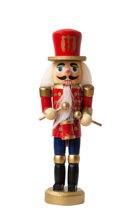Christmas nutcracker toy soldier traditional figurine, Isolated on white background Stock Photo