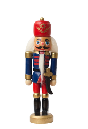 Christmas nutcracker toy soldier traditional figurine, Isolated on white background 스톡 콘텐츠
