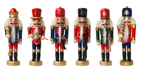Collection christmas nutcracker toy soldier traditional figurine, Isolated on white background