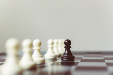Business leader and confrontation solve problems concept, Chess board game with copy space for your text Stok Fotoğraf