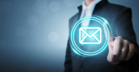 Businessman touching icon email (mail) or newsletter. Customer service call center contact us concept