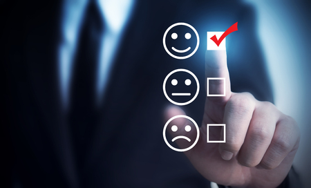Businessmen choose to rating score happy icons. Customer service experience and business satisfaction survey concept
