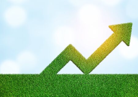 Grass with arrow sign symbol business development to success growing growth concept Stock Photo