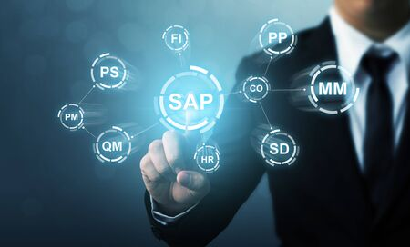 Business management software (SAP). ERP enterprise resources planning system concept 版權商用圖片