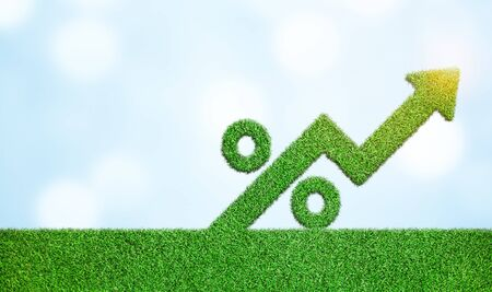 Grass with arrow and percentage sign symbol business development to success growing growth concept