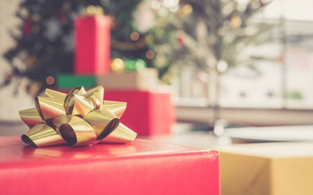 Christmas and new year eve theme and gift box on blurred background