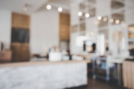 Blurred images of the coffee shop interior background and lighting bokeh Stock fotó