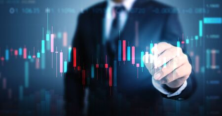 Double exposure businessman pointing line dot graph. Technical price candlestick chart graph and indicator stock online trading Stock fotó