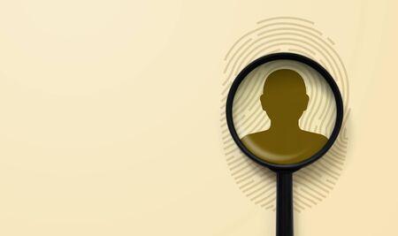 Fingerabdruck als Informationsquelle zum Datenschutz. Fingerabdruck und Lupe über dem Symbol Mensch Standard-Bild