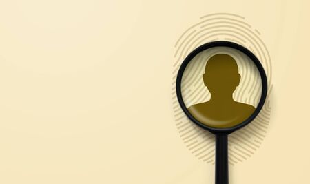 Fingerprint as source of information about personal privacy. Finger print and magnifying glass above icon human