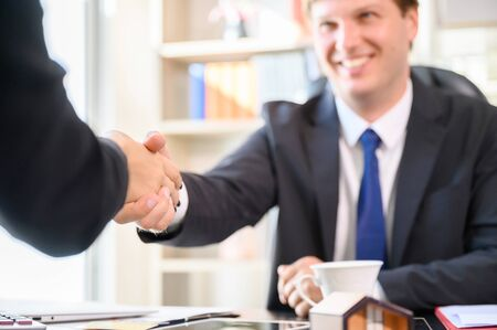 Business people shaking hands, Company partnership agreement together