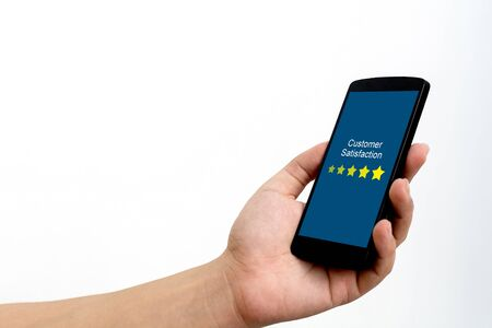 Customer review rating business concept, Man hand using mobile smart phone