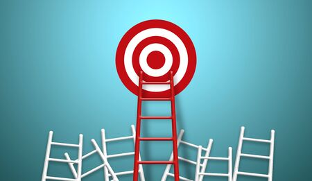 Stand out from the crowd and think different creative idea concepts. Longest red colour ladder and aiming high to goal target