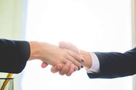 Business people shaking hands, finishing up a meeting. Human resources management and recruitment