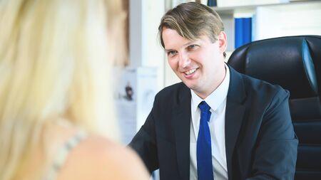 Businessman listen to candidate answers, Job interview, Human resources (HR), Talent management