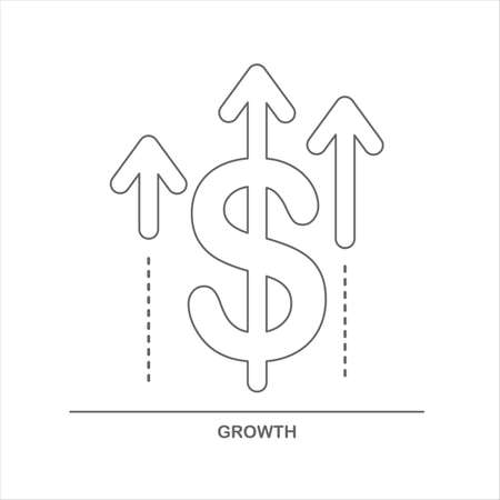 Financial and investment growth icon. Dollar sign with arrow increase moving up. Outline linear symbol on white background. Vector illustration