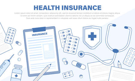 Health insurance concept. Element object healthcare and medical. Vector illustration