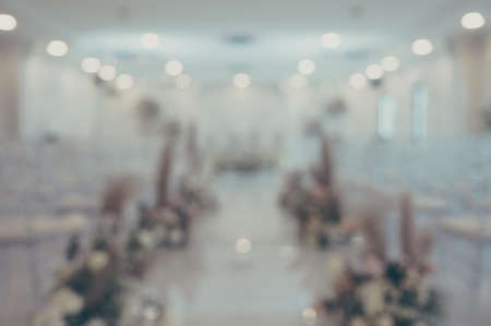 Abstract background blurred decorations for wedding ceremony and lighting bokeh