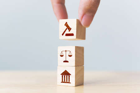 Wooden block cube shape with icon law legal justice