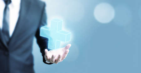 Businessman offer positive thing (such as profit, benefits, development, CSR) represented by plus sign