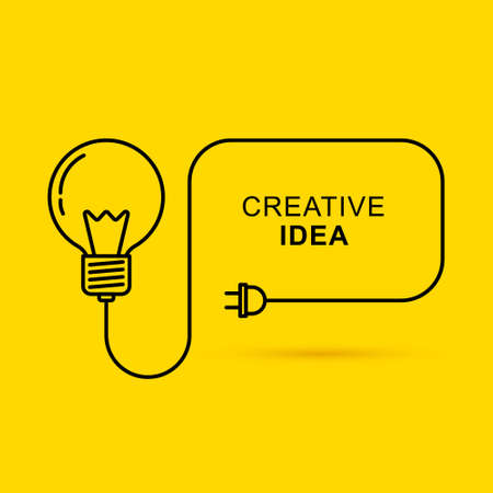 Creative thinking ideas brain innovation concept. Light bulb on yellow background. Vector illustration