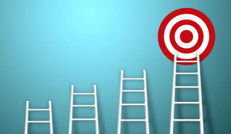 Stand out from the crowd and think different creative idea concepts. Longest white ladder growing up growth to aiming high to goal target. 3d illustration Stockfoto