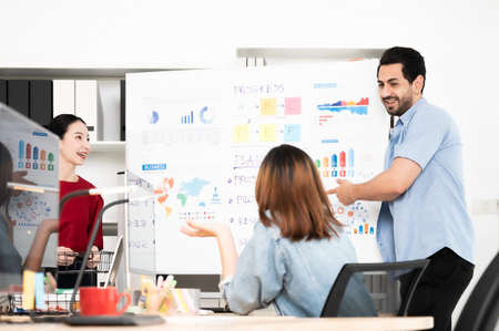 Coworking process, Corporate employees team working brainstorm project and present develop planning with whiteboard. Business startup company teamwork on meeting in modern office room
