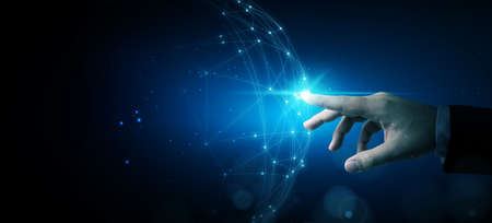 Hand touching abstract network circle technology structure. Innovation networking future worldwide global concept